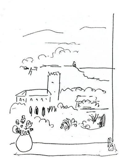 """Dibujo realizado por Matisse de la Alhambra llamado """"vue de la fenétre"""" que recuerda el paso del pintor por Granada y que será una de la mas de cien piezas de la exposición """"Matisse y la Alhambra (1910-2020)"""" que se mostrarán a partir del 15 de octubre en el palacio de Carlos V de Granada."""